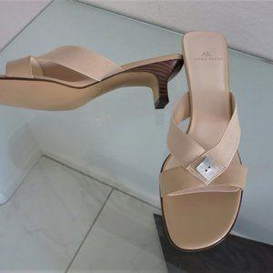 New Anne Klein Cream Slip On Low Heel Sandals